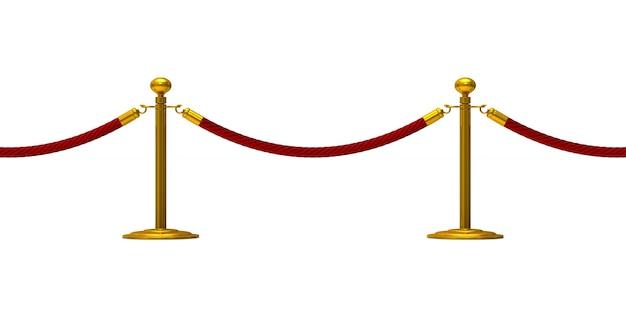 Barrière touw op witte achtergrond. geïsoleerde 3d illustratie