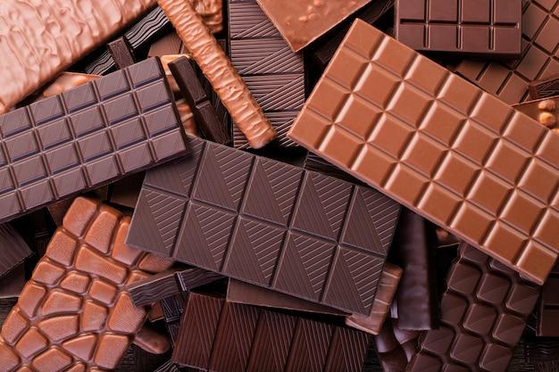 Bars van verschillende chocolade oppervlak