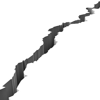 Barst in wit geïsoleerd oppervlak