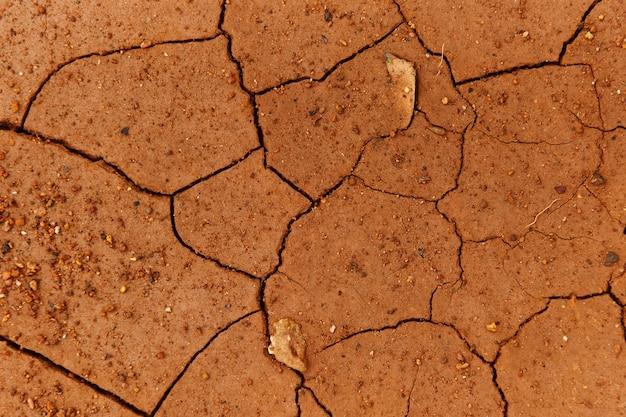 Barsten van de gedroogde grond in dor seizoen / dorre grond, gebarsten aarde textuur