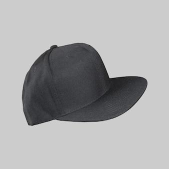 Baseballcap zwarte kleur geïsoleerd op effen achtergrond