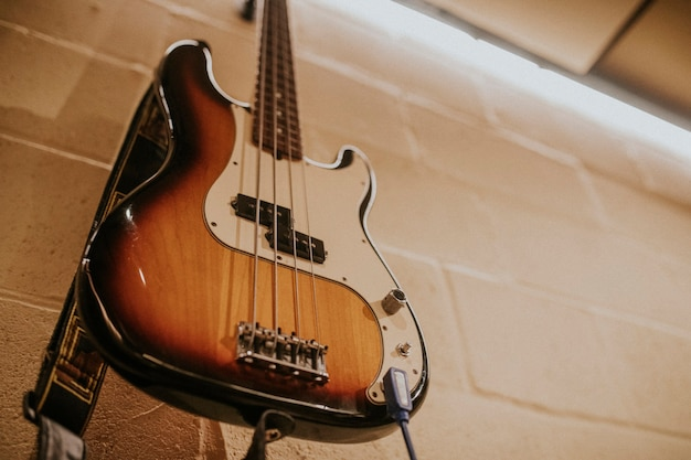 Basgitaar muziekinstrument, studio-opnamesessie foto