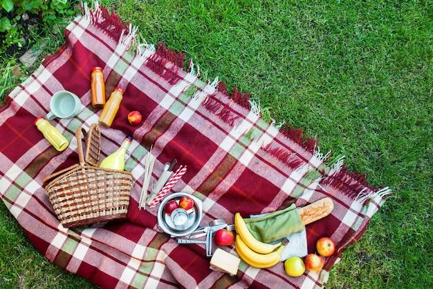 Basket setting food fruit geruit plaid picknickgras