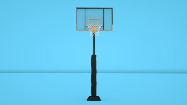 Basketbal hoepel geïsoleerd op blauwe achtergrond