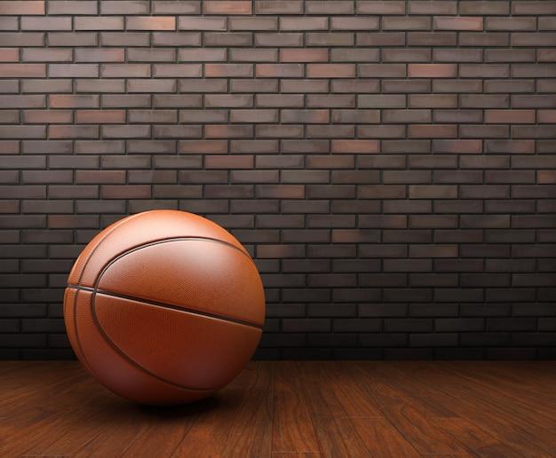 Basketbal op hout met bakstenen muur achtergrond