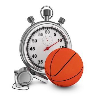 Basketbal, scheidsrechtersfluit en chronometer op een witte achtergrond. 3d-rendering.