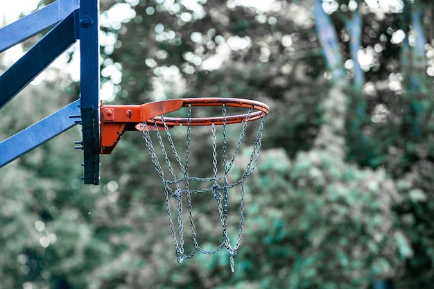 Basketbal veld doel met bomen