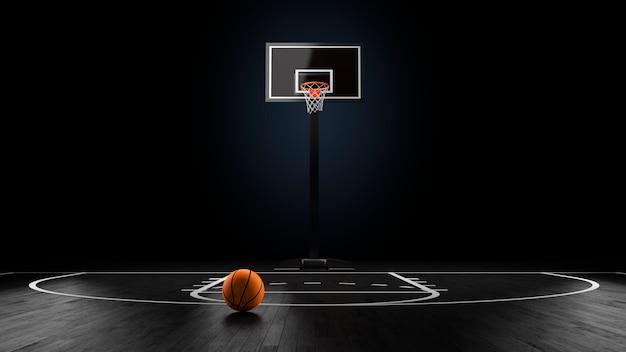 Basketbalarena met bal