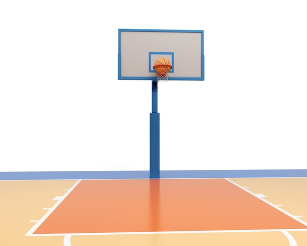 Basketbalbal die in een ring valt. 3d render illustratie.