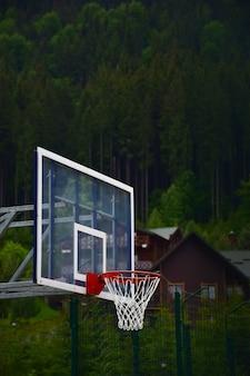 Basketbalbord en hoepel met net op onscherpe achtergrond van houten huizen en groen bos