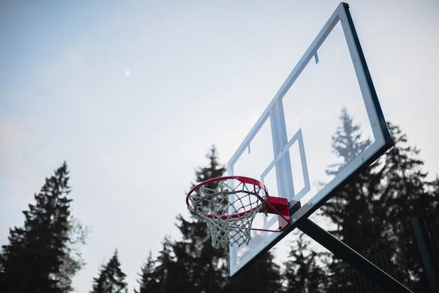 Basketbalring op de achtergrond van het bos in de avond