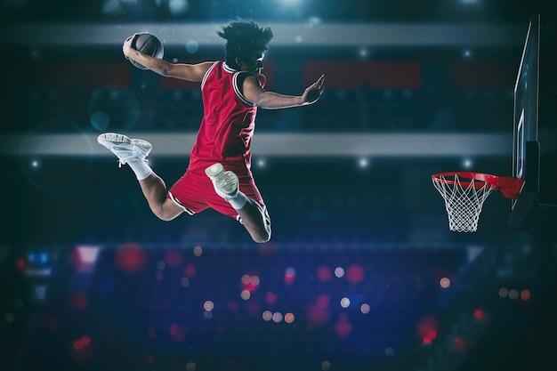 Basketbalspel met een hoogspringende speler om een slam naar de basket te dompelen