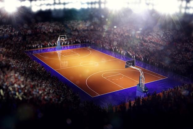 Basketbalveld sport arena 3d render achtergrond