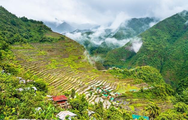 Batad rijstterrassen, in ifugao, luzon island, de filippijnen