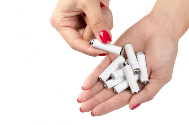 Batterijen in de hand