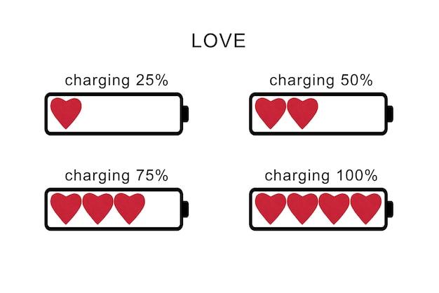 Batterijniveau in de vorm van rode harten. valentijnsdag.