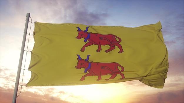 Bearn vlag, frankrijk, zwaaien in de wind, lucht en zon achtergrond. 3d-rendering.