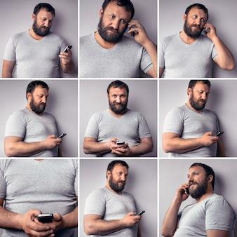 Bebaarde man in grijze t-shirt met mobiele telefoon met smartphone collage van setfoto's