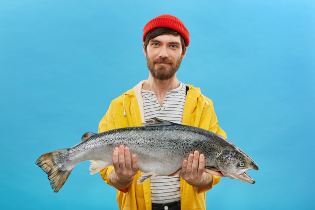 Bebaarde visser in gele anorak en rode hoed met enorme vis in handen, waarmee hij zijn succesvolle vangst demonstreert. horizontaal portret van geschoolde arbeider poseren met grote zalm op blauwe muur