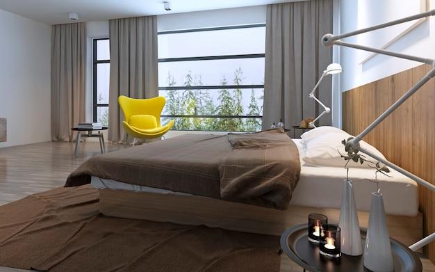 Bed en gele stoel in slaapkamer met groot raam, daglicht inclusief verlichting, bruine versieringen. 3d render
