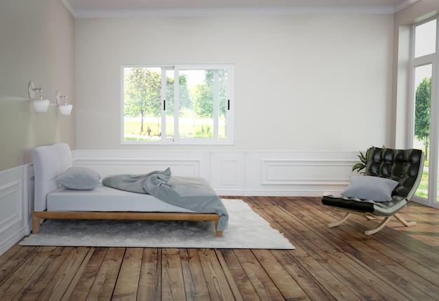 Bed en tapijt met een lamp en een bank, houten vloer en zwarte muurachtergrond.