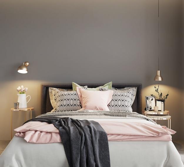Bed in de moderne slaapkamer met kleurrijke kussens, 3d render, slaapkamer mockup, slaapkamer muur mockup