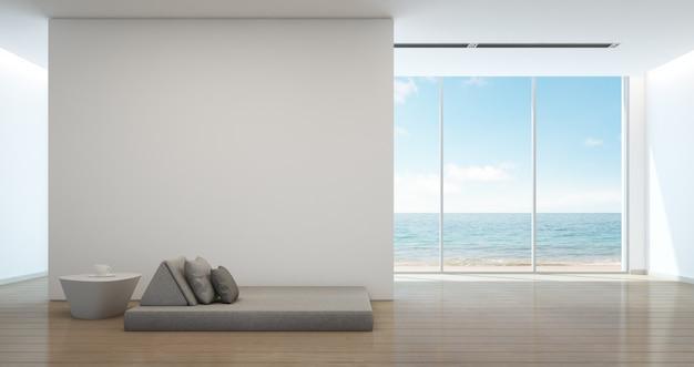 Bed in zeezicht interieur van modern strandhuis.