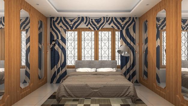 Bed room interior moderne en luxe stijl. 3d-weergave