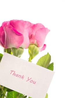 Bedankkaart met roze rozen