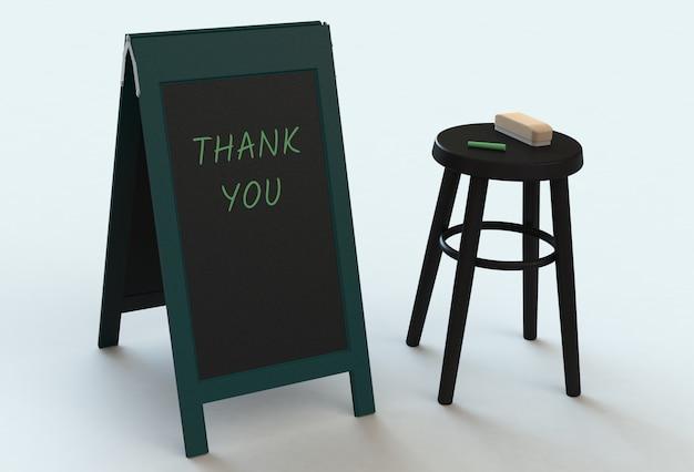 Bedankt, bericht op blackboard, 3d-rendering