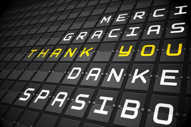 Bedankt in talen op zwart mechanisch bord