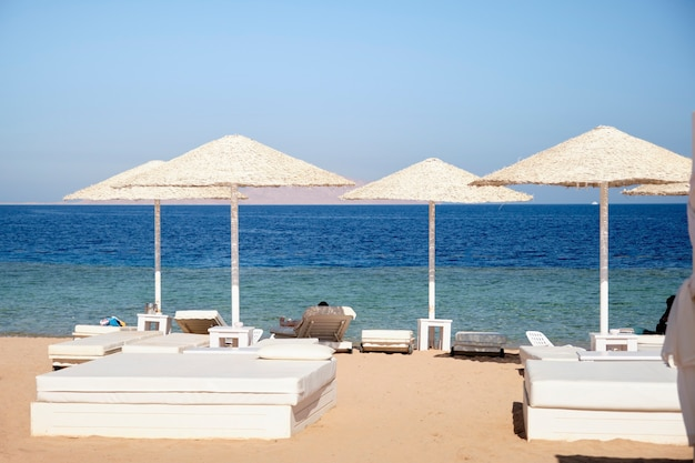 Bedden op het strand met parasols van de zon op het grondgebied van het hotel tegen de achtergrond van de zee