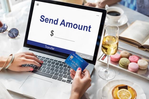 Bedrag verzenden online bankieren concept