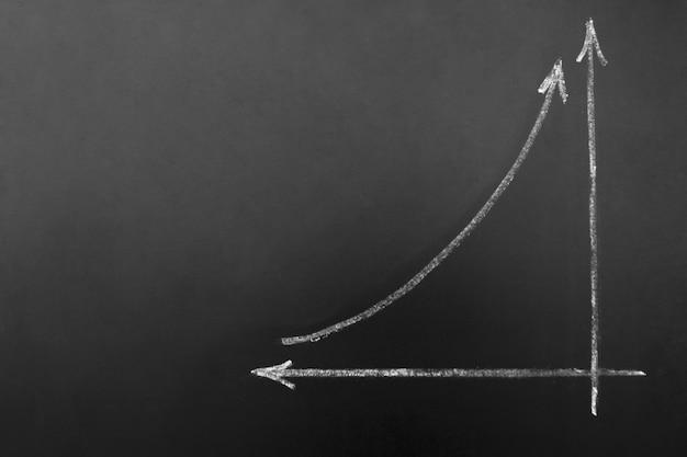Bedrijf en financiën - eenvoudig diagram dat succes toont dat op een zwart bord wordt getrokken. copyspace.