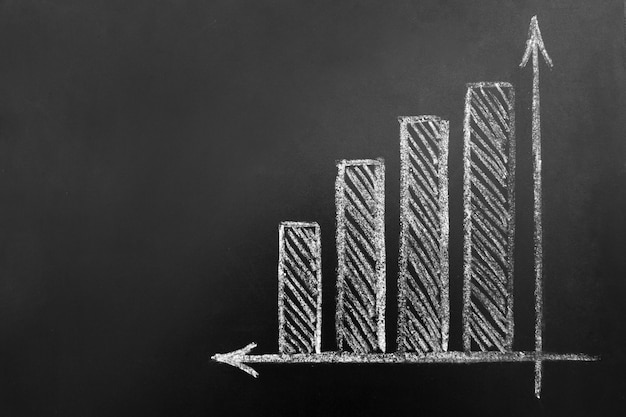 Bedrijf en groei. eenvoudig diagram getekend op een schoolbord. copyspace.
