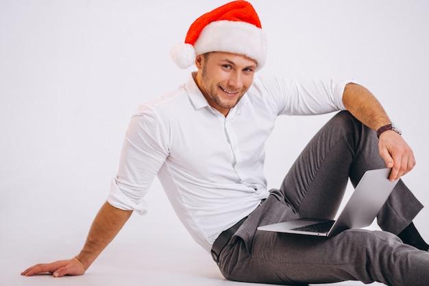 Bedrijfs geïsoleerde mens online winkelend op kerstmis