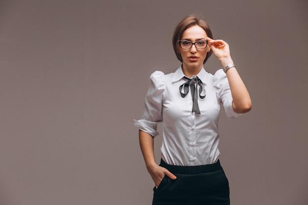 Bedrijfs geïsoleerde vrouw met emoties