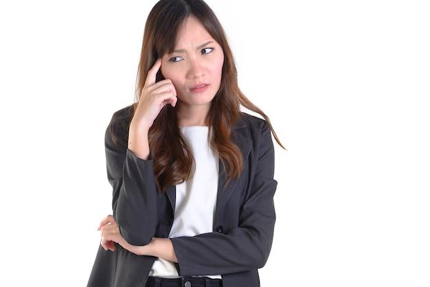 Bedrijfs gestresste vrouw in pak