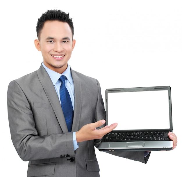 Bedrijfs mens met lege het schermlaptop