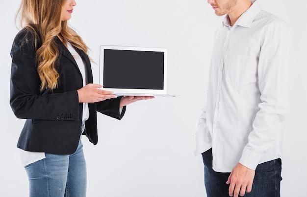 Bedrijfs vrouw bedrijf tablet