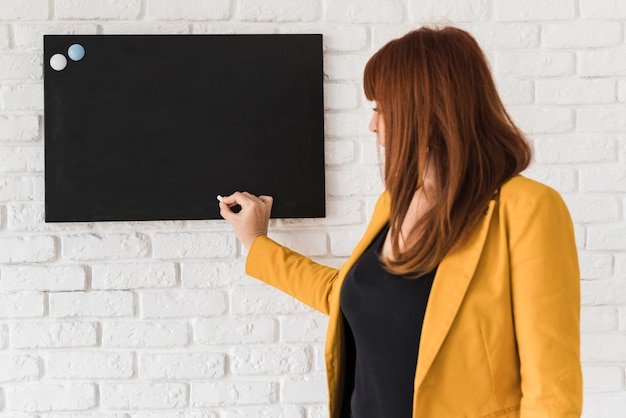Bedrijfs vrouw die een presentatie maakt