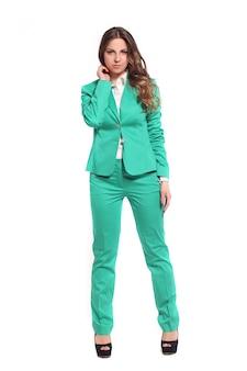 Bedrijfs vrouw in groen kostuum