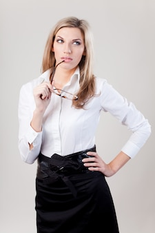 Bedrijfs vrouw met glazen