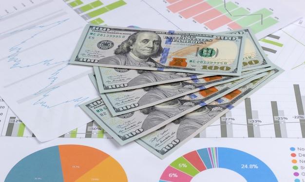 Bedrijfsanalyse. financiële analyse. dollarbiljetten met grafieken en diagrammen sluiten omhoog. economische voorspelling van groei en val van de munt