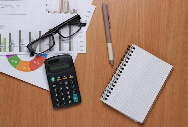 Bedrijfsanalyse. financiële analyse. rekenmachine, bril met grafieken en grafieken op bureau.