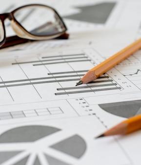 Bedrijfsanalyses, grafieken en diagrammen.