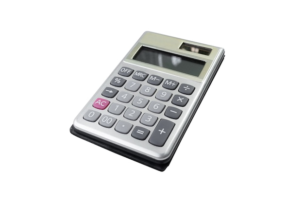 Bedrijfscalculator met eenvoudig ontwerp dat op witte achtergrond wordt geïsoleerd