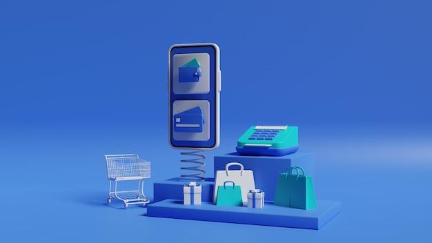Bedrijfsconcept. 3d-weergave van telefoon- en verkoopthema's
