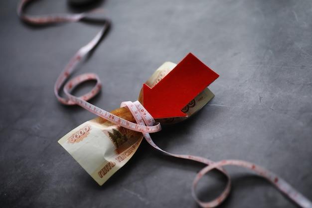 Bedrijfsconcept. de depreciatie van de nationale munteenheid. rekening met het opschrift