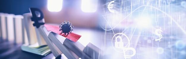Bedrijfsconcept. de waardevermindering van de nationale munteenheid van rusland. het symbool van de roebel. inflatie en stagnatie. abstracte vallende kolommen die de economie van het land symboliseren.